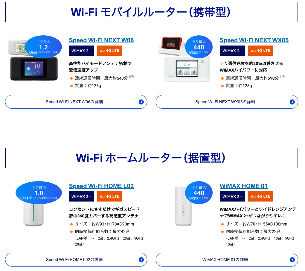 @nifty WiMAX端末