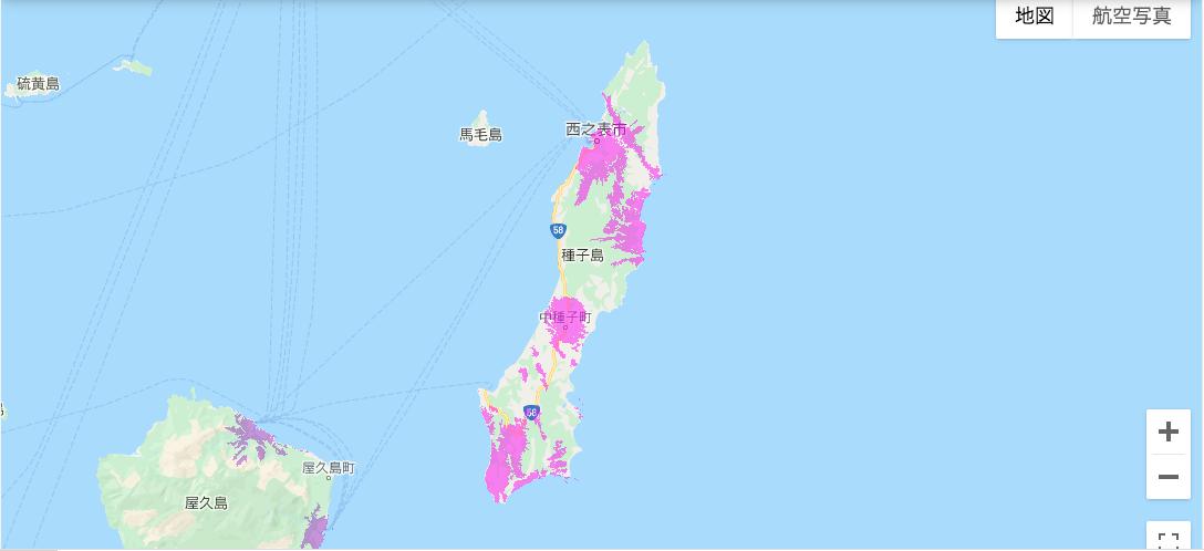 種子島のWiMAX2+のエリア